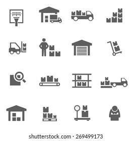 Set of warehouse logistic storage vector black icons