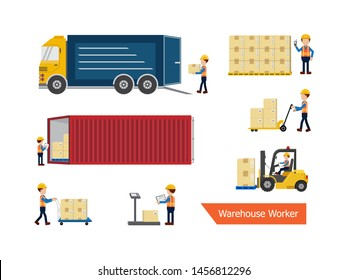 Set of warehouse worker or delivery man process vector illustration