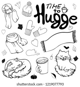 Set of warm winter clothes in the style of Hugge. Collection of monochrome isolated objects in the style of Hugge. Winter scarf, winter hat, warm mittens and blanket, cocoa and fluffy cat.