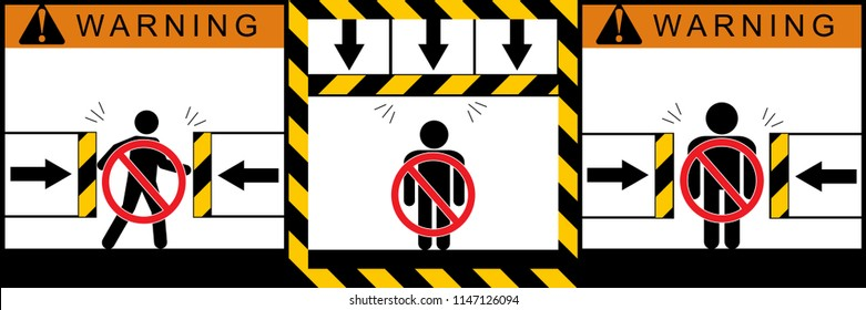 Set warning crushing hazard signs,illustration vector eps10.