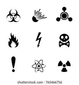 Set of warning danger signs, isolated on white background. Vector illustration. Set of warning hazard signs.