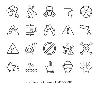 set of warning icons, such as poison, danger, protect, secure