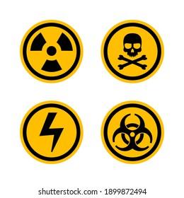 Set of warning sign. Biohazard, crossbones, high voltage, toxic, radioactive zone. Illustration vector
