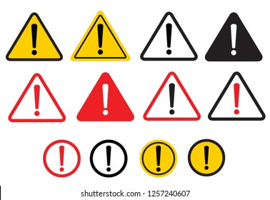 Set warning sign. Danger warning attention sign. Vector illustration. on white background