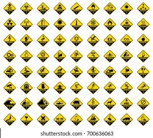 Set of warning sign. Danger sign, symbol, illustration