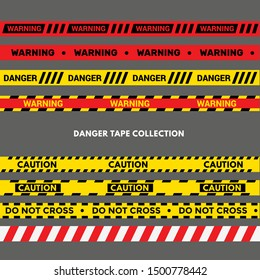 Set of Warning Tapes. Black and Yellow Police Stripe