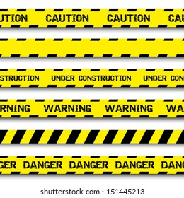 Set of warning tapes isolated on white background. Warning tape, danger tape, caution tape, danger tape, under construction tape. Vector illustration