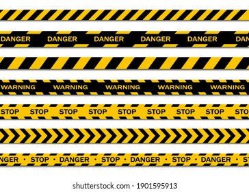 Set of warning tapes isolated on white background. Warning tape, danger tape, caution tape, under construction tape. Vector illustration