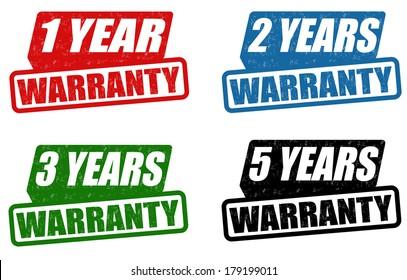 Set of warranty grunge rubber stampson white, vector illustration