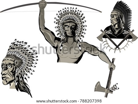 Set Warriors Native Americans Traditional Clothes Stock Vector