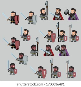 Set of warriors pixel characters in art style