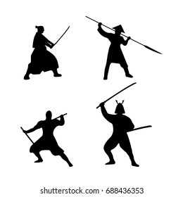 The Set of Warriors Silhouette on white background. Isolated Vector illustration.