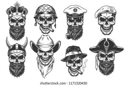 Set of warriors in the wearhead. Vector illustraiton