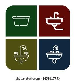 Set of washbasin icons such as Wash basin, Sink , washbasin