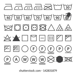 Set of washing symbols (Laundry icons) isolated on white background