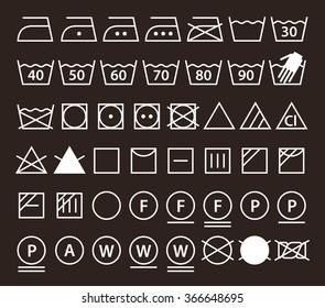 Set of washing symbols (Laundry icons) on dark  background