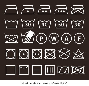 Set of washing symbols (Laundry icons) on dark background