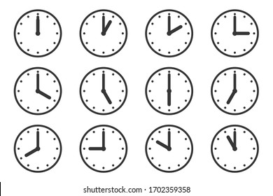 Set of watches with different times. Clock icon isolated. Vector illustration. Clock vector icons