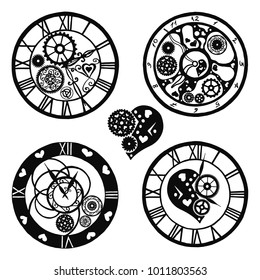 Set of Watches in the Victorian style, hand drawn. Vector illustration
