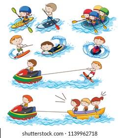 A set of water activities illustration