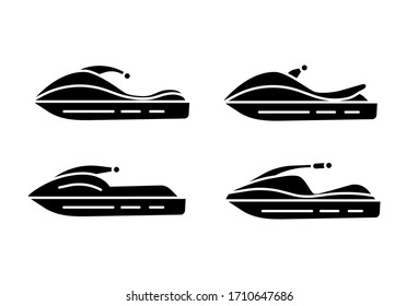 Set of Water bike icons. Black jet ski silhouette isolated on white background.  Vector illustration for web design.
