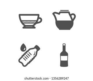 Set of Water bottle, Milk jug and Bombon coffee icons. Wine sign. Still drink, Fresh drink, Cafe bombon. Merlot bottle.  Classic design water bottle icon. Flat design. Vector