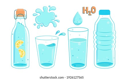 Set of water in bottles and glasses. Full bottle with lemon and glass, splash and water drop with text. Hand drawn cute vector illustartion. H2O for health.Drink more water.