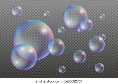 Set of water bubbles with rainbow reflections. Vector illustration isolated on a transparent background
