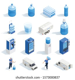 Set with water delivery isometric icons of plastic bottles boilers vending machines and characters of workers vector illustration