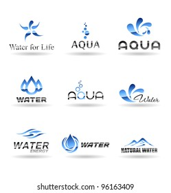 Set of water design elements. Water icon. Set 2.