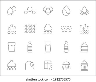 Set of water and drinks line style. It contains such Icons as bottle, glasses, bathroom, faucet, shower, h2o and other elements. customize color, easy resize.