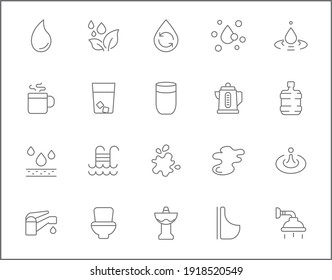 Set of water and drinks line style. It contains such Icons as bottle, glasses, bathroom, faucet, shower, cup, kettle and other elements. customize color, easy resize.