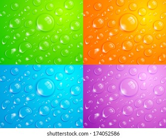 Set of water drop backgrounds in 4 different color schemes