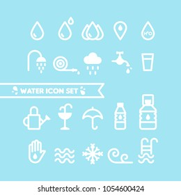 Set: Water and drops icons. Round line style. Minimal outline symbols. Vector illustration, flat design