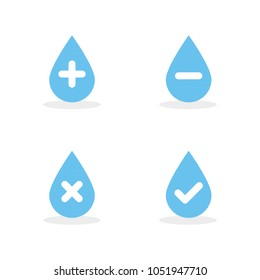 Set: Water drops with plus, minus, tick and cross symbols. Vector illustration, flat design