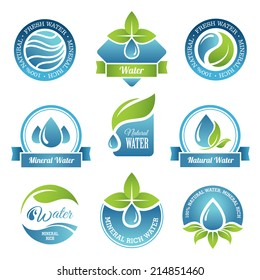 Set of water emblems and labels in vector