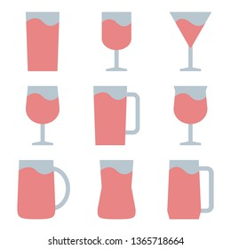 Set of Water Glass, Drinking Glass Icon - Vector