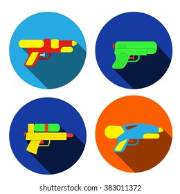 Set of water gun icons in flat style, vector