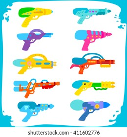 Set water guns. collection of water pistols on a white background. Water pistols in frame with water spray. toy guns