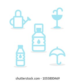 Set: Water icons. Round line style. Minimal outline symbols. Vector illustration, flat design