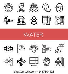 Set of water icons such as Boat porthole, Pipe, Painter, Firewoman, Rescue boat, Bikini, Watermelon, Water heater, Firefighter, Solar cell, Pollution, Shower, Fishing , water