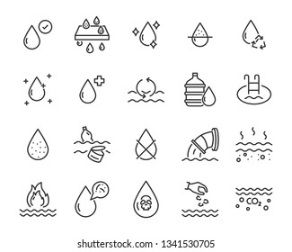 set of water icons, such as filter, clean water, nature, pollution, water drop