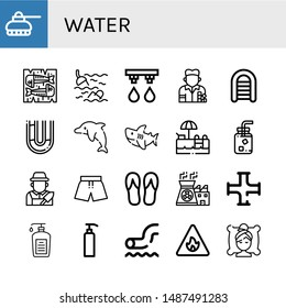 Set of water icons such as Tank, Mackerel, Sea, Irrigation system, Painter, Inflatable boat, Pipe, Dolphin, Shark, Swimming pool, Cold water, Gardener, Swimsuit, Flip flops , water