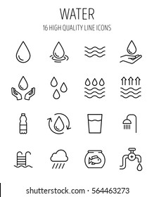 Set of water in modern thin line style. High quality black outline drop symbols for web site design and mobile apps. Simple water pictograms on a white background.