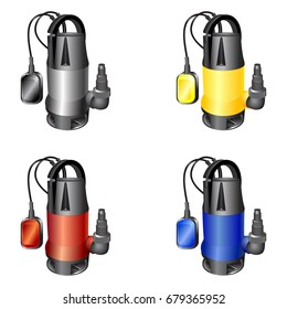 Set of water pumps in metal, yellow, red or blue  case on a white background. Dirty water pumps. Water purification pumps. Vector illustration.