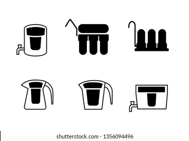Set of water purifier icons in silhouette, vector