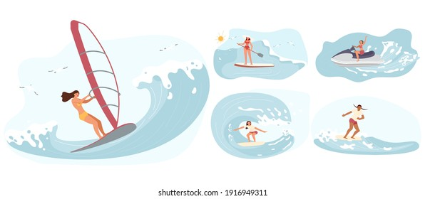 Set of Water sport activities. Women rides the Barreled Rushing Waves or floating on paddle board. Happy characters isolated on white background. Flat Art Vector illustration