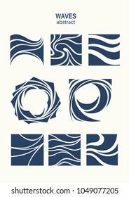 Set Water Wave Logo abstract design. Cosmetics Surf Sport Logotype concept. Square aqua icon