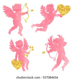 Set of watercolor angels. Cute cupids silhouettes. Valentines Day design. Vector illustration.