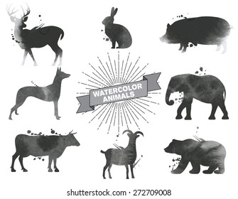 Set of watercolor animals.Black and white vector illustration